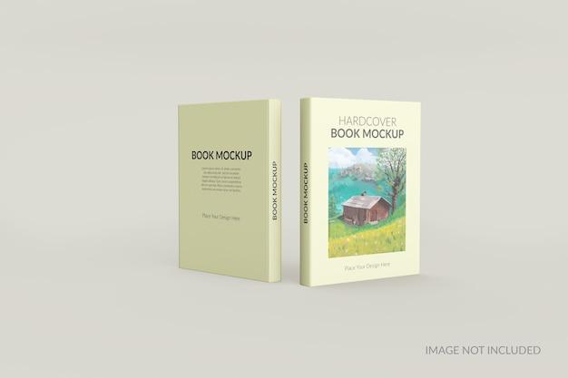Voor- en achteraanzicht van hardcover boek staande mockup Premium Psd