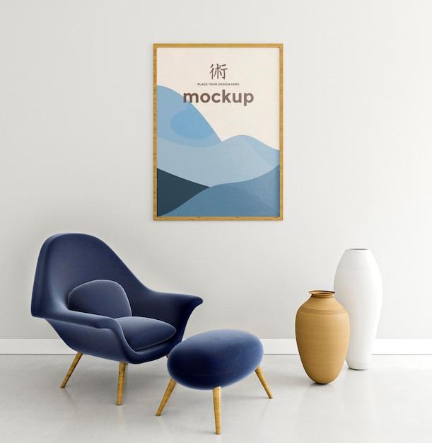 Vooraanzicht binnenshuis opstelling met frame mock-up Gratis Psd