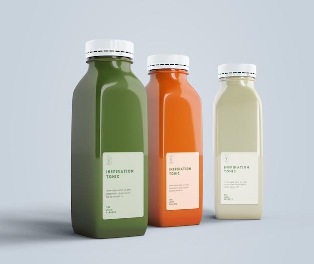 Vooraanzicht gezond eten smoothies voor detox concept Premium Psd