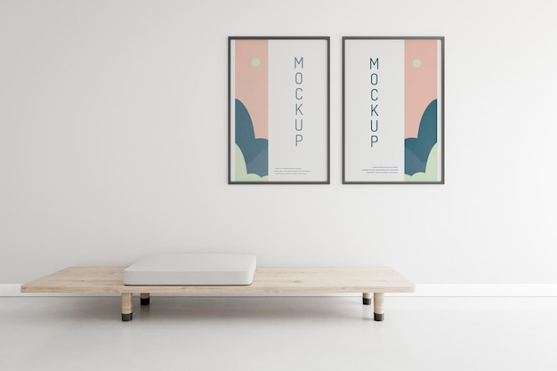 Vooraanzicht huis compositie met frame mock-up Gratis Psd