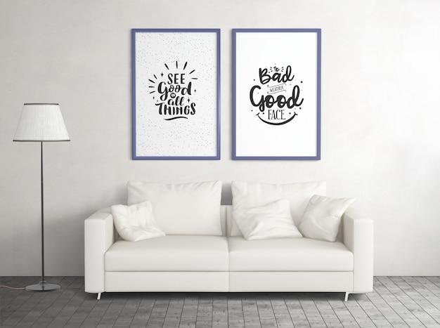 Vooraanzicht mock up posters met sofa Gratis Psd