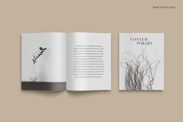 Vooraanzicht omslag en mockup voor redactioneel tijdschrift binnenste gedeelte Premium Psd