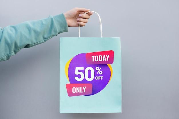 Vooraanzicht papieren zak met verkoop Gratis Psd