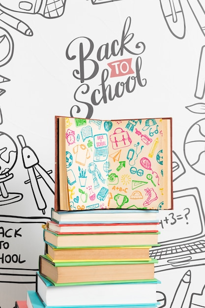 Vooraanzicht terug naar school met open boek Gratis Psd