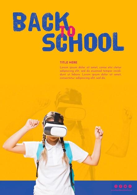Vooraanzicht tienermeisje met virtual reality-bril Gratis Psd