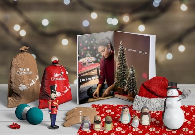 Vooraanzicht van de schepperconcept van de kerstmisscène Gratis Psd