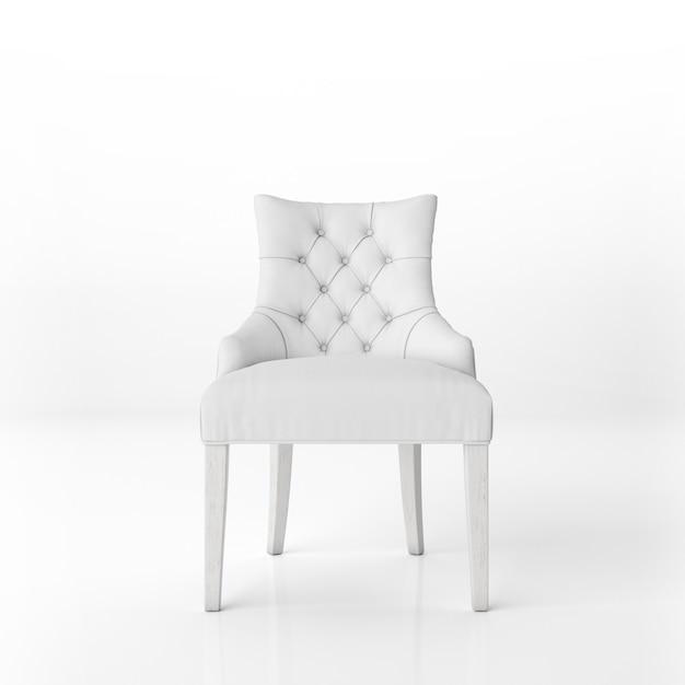 Vooraanzicht van de witte gewatteerde fauteuil mockup Gratis Psd