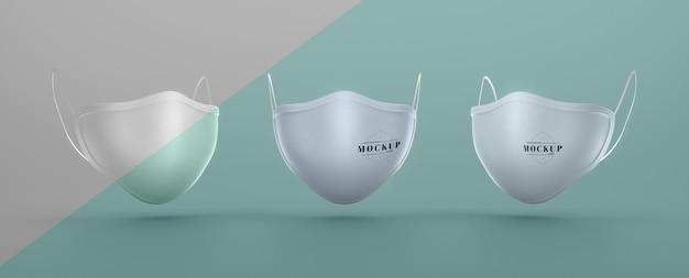Vooraanzicht van gezichtsmaskers mock-up voor bescherming Gratis Psd