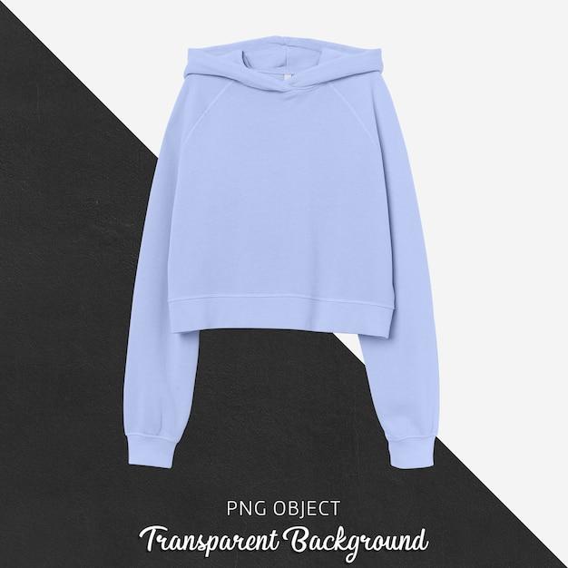 Vooraanzicht van lichtblauw crop hoodie-model Premium Psd