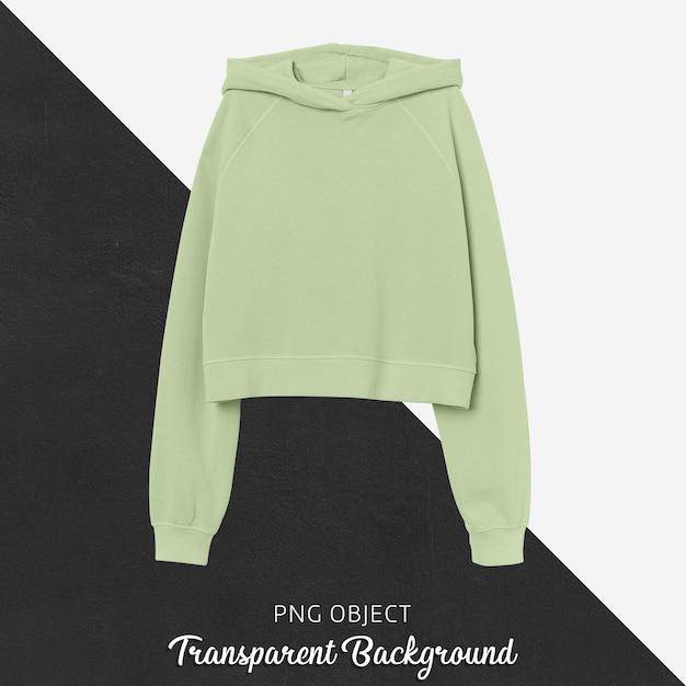 Vooraanzicht van lichtgroen crop hoodie-mockup Premium Psd