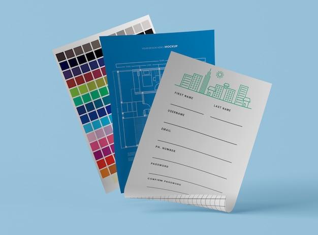 Vooraanzicht van mock-up blauwdruk en palet van papier Gratis Psd