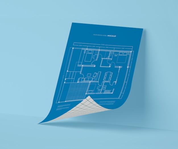 Vooraanzicht van mock-up papier blauwdruk Gratis Psd