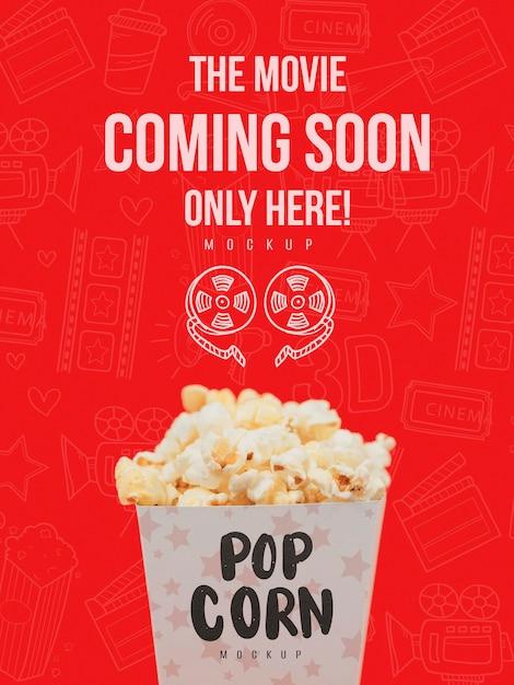 Vooraanzicht van popcorn cup voor bioscoop Gratis Psd
