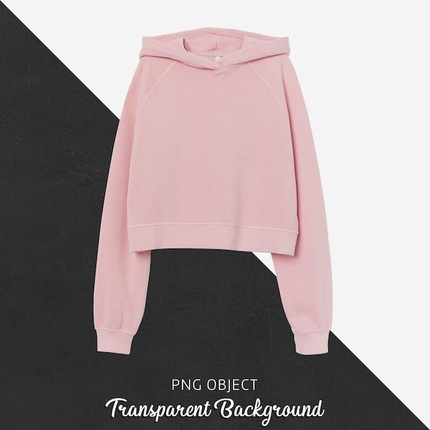 Vooraanzicht van roze crop hoodie mockup Premium Psd