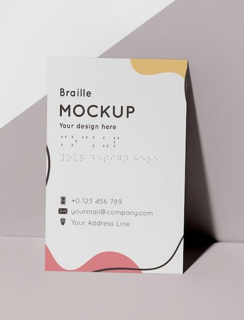 Vooraanzicht van visitekaartje met braille in reliëf Gratis Psd
