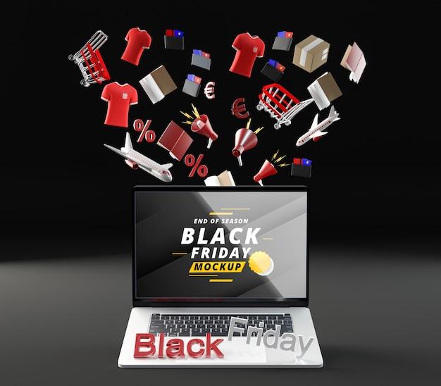 Vooraanzicht zwarte vrijdag mock-up verkoop zwarte achtergrond Gratis Psd
