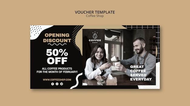 Voucher sjabloon concept voor coffeeshop Gratis Psd