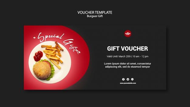 Voucher sjabloon voor burgerrestaurant Gratis Psd