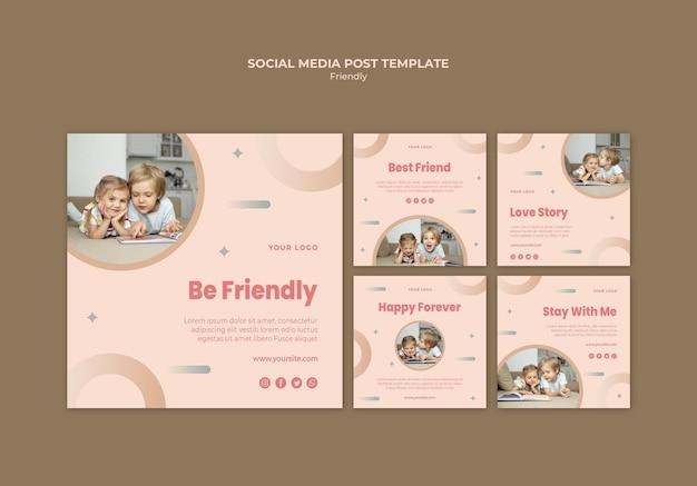 Vriendschapsdag met kinderen op sociale media plaatsen Gratis Psd