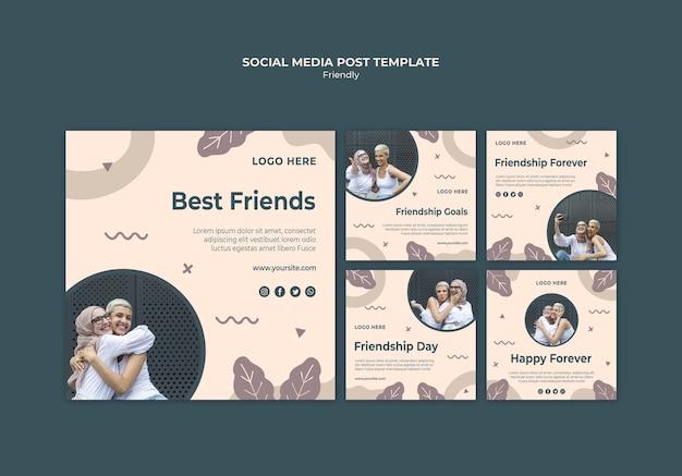 Vriendschapsdag met post op sociale media voor jonge volwassenen Gratis Psd