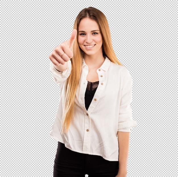 Vrij jonge vrouw die ok gebaar doet Premium Psd