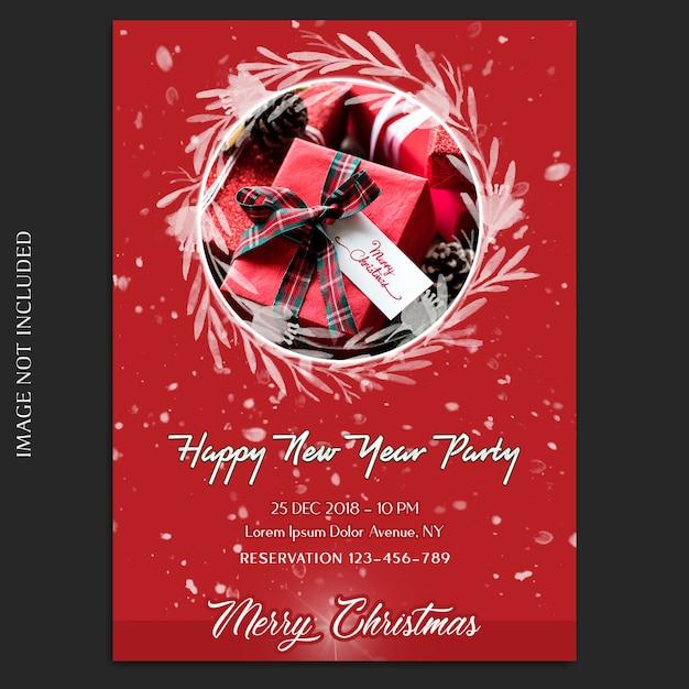 Vrolijk kerstfeest en gelukkig nieuwjaar 2019 foto mockup en uitnodiging kaart of flyer-sjabloon Premium Psd