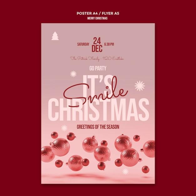 Vrolijk kerstfeest flyer-sjabloon Gratis Psd