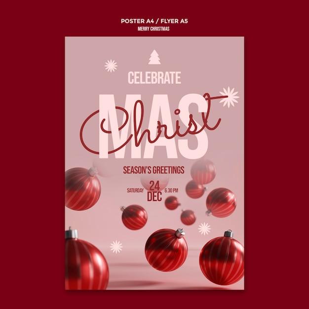 Vrolijk kerstfeest flyer Gratis Psd