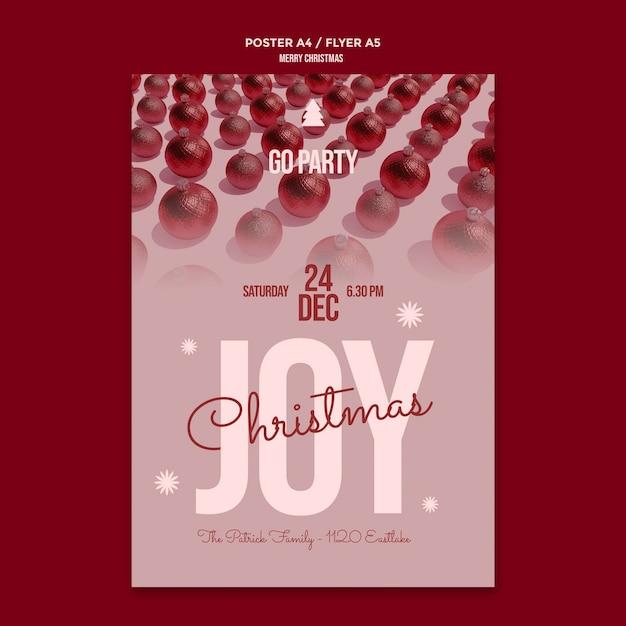 Vrolijk kerstfeest folder sjabloon Gratis Psd