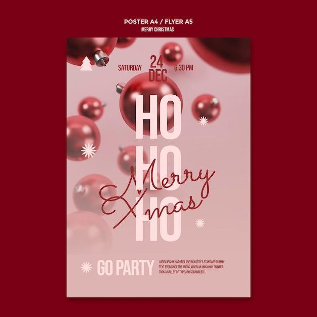 Vrolijk kerstfeest poster sjabloon Gratis Psd