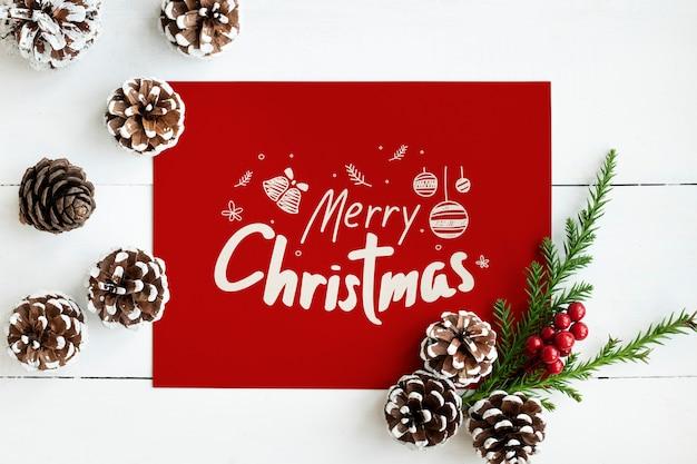 Vrolijk kerstfeest wenskaart mockup Gratis Psd