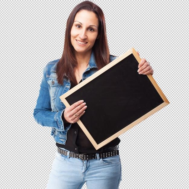 Vrouw die een bord houdt Premium Psd