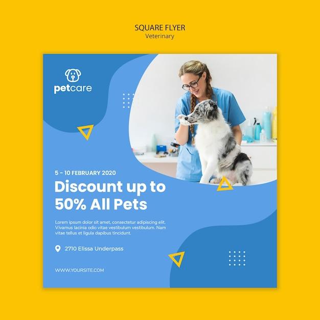 Vrouw en hond veterinaire vierkante folder sjabloon Gratis Psd
