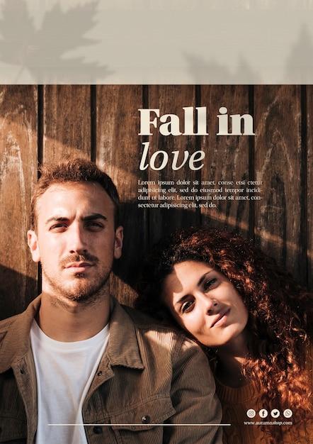 Vrouw en man op herfst verticale websjabloon Gratis Psd