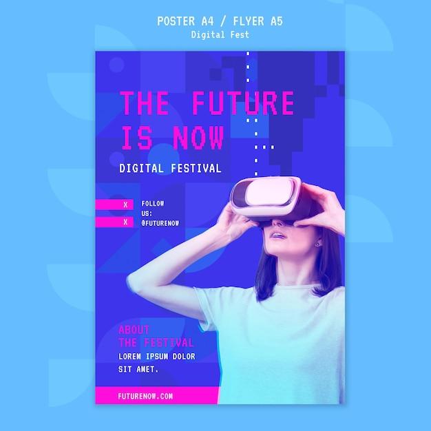 Vrouw met behulp van een virtual reality headset poster sjabloon Gratis Psd