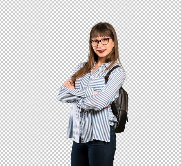 Vrouw met een bril met armen gekruist en kijkt uit Premium Psd