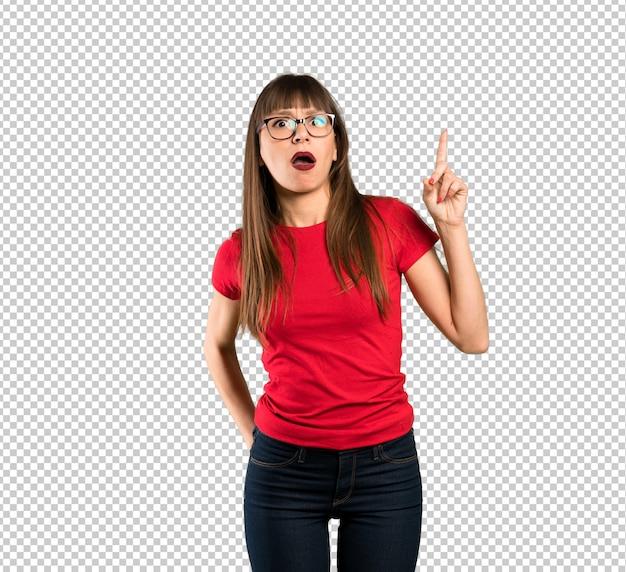 Vrouw met een bril omhoog en verrast Premium Psd