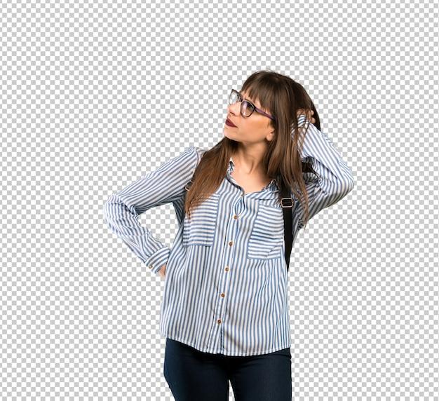 Vrouw met een bril twijfels Premium Psd