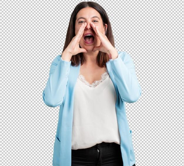 Vrouw van middelbare leeftijd gelukkig schreeuwen Premium Psd