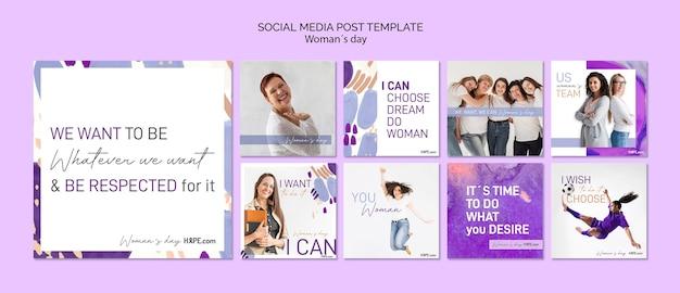 Vrouwendag social media postsjabloon Gratis Psd