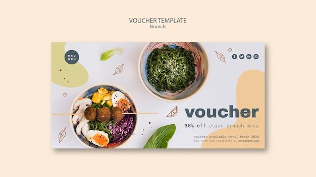 Waardebon sjabloon voor aziatische brunch menu Gratis Psd
