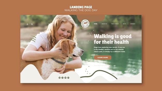 Walking the dog day-sjabloon bestemmingspagina Gratis Psd