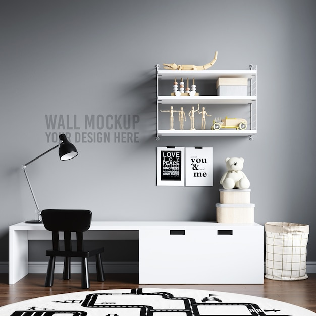 Wall mockup interior kids playroom with decorations Psd Premium