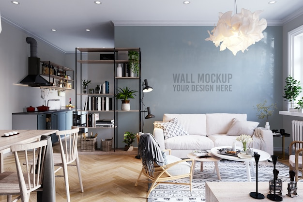 Walpaperl mockup interieur scandinavische woonkamer achtergrond Premium Psd