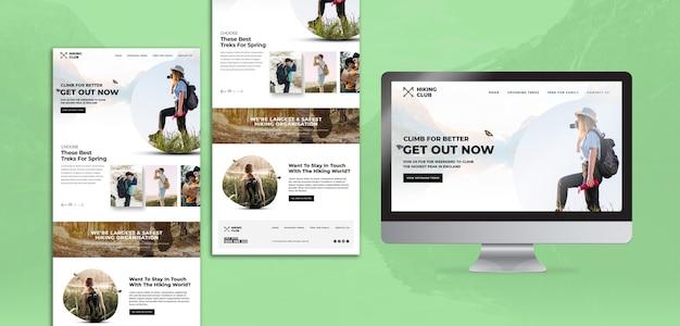Wandelconcept met homepage en scherm Premium Psd