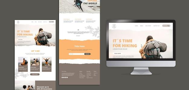 Wandelen concept websjabloon Gratis Psd