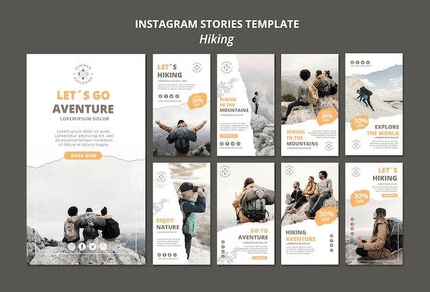 Wandelen instagram verhalen sjabloon Gratis Psd