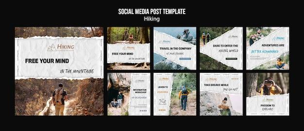 Wandelsjabloon voor sociale media-berichten Gratis Psd