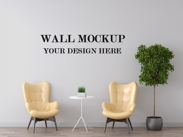 Wandmodel achter gele fauteuils Premium Psd