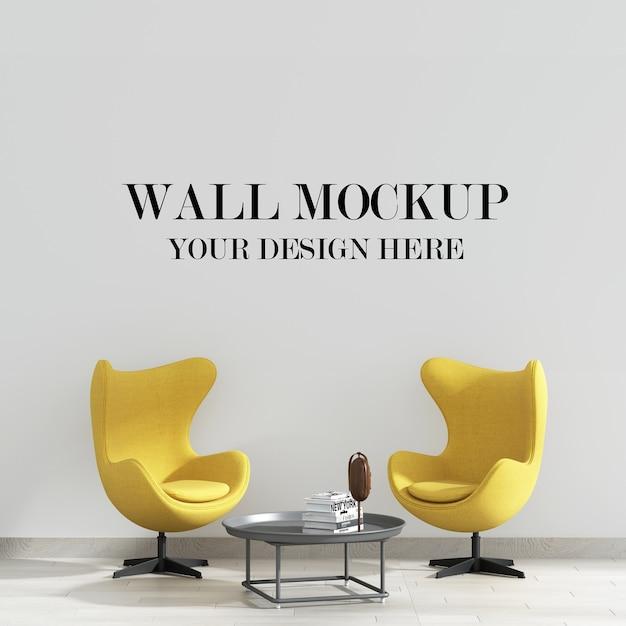 Wandmodel achter moderne gele fauteuils Premium Psd
